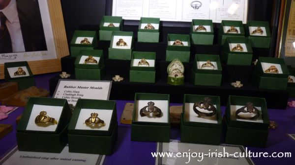 Antique rings in the museum at Dillon's, Quay Street, Galway, Ireland.