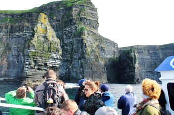 The Moher Cliffs seen from the sea, County Clare, Ireland.