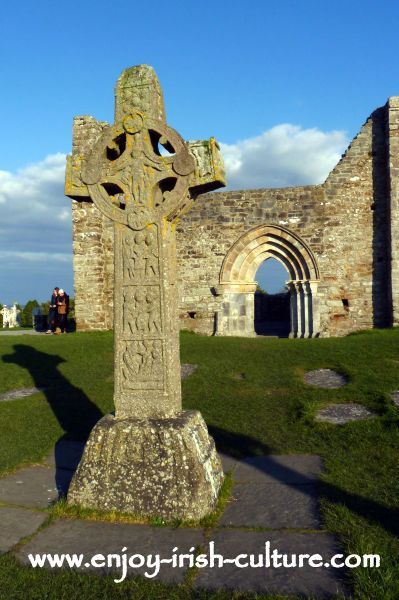 Cross of the Scriptures and Cathedral at Clonmacnoise, Ireland's most important early Christian monastery in County Offaly.