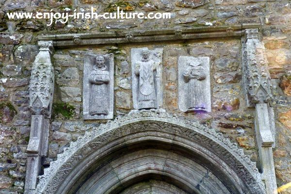 Carvings of saints above the Cathedral doorway at Clonmacnoise, Ireland's most important early Christian monastery in County Offaly.
