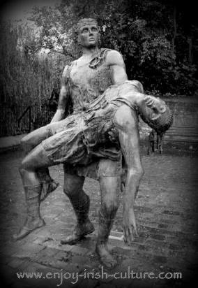 This sculpture at Ardee, County Louth, Ireland depicts CuChullainn carrying his dead brother Ferdia.