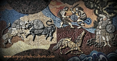 Desmond Kinney mural at Nassau Street, Dublin, Ireland, depicting scenes from the ancient Irish myth, the Ulster Cycle.