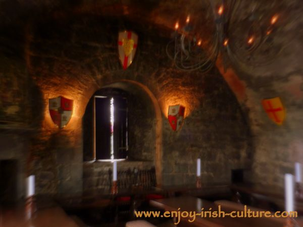 The banqueting hall at the castle in soft focus.