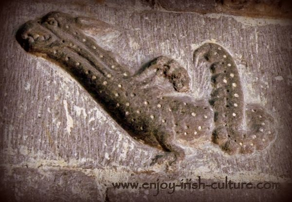 A wyfern carving at Clonfert Cathedral, a remarkable Irish heritage site in County Galway.