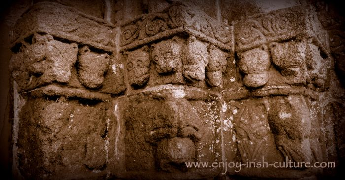 Sand stone carvings at the doorway of Clonfert Cathedral, County Galway- a remarkable Irish heritage site.