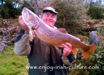 Derek and an eleven Pound trout from Lough Corrib, County Galway, Ireland.