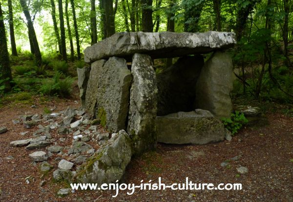 A reconstructed ancient wedge tomb of ancient Ireland at the heritage Museum at Craggaunowen, Quin, County Clare.