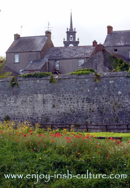 Silhouette of the medieval heritage town of Fethard, County Tipperary, Ireland.