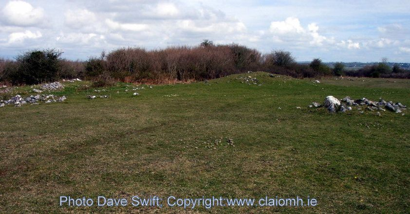 The top of he hill at Knockdoe, County Galway, Ireland, where the battle took place, warrior graves under cairns.