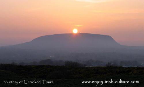 Knocknarea mountain, with Maeve's grave passage tomb on top, County Sligo, Ireland.