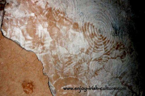 Art work on the ceiling at Newgrange tomb, County Meath, Ireland.