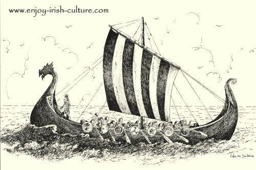 Artist impression of a Viking longship by Colm Sweeney.