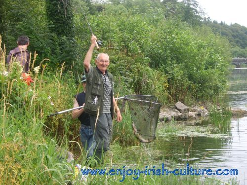 Fishing for salmon at the Cong river, County Mayo, Ireland.