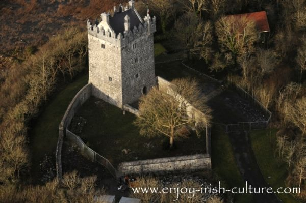 Irish castle at Annaghdown, County Galway, aerial view.
