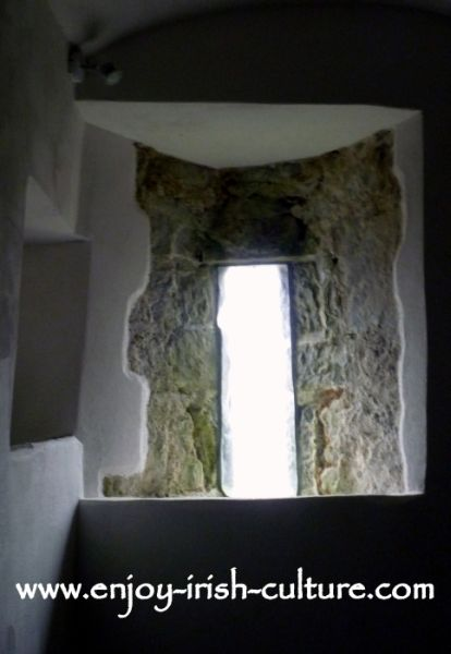 Irish castle, Annaghdown, County Galway, loop window detail.