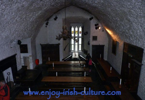 Bunratty Castle, County Clare, Ireland- the vaulted hall, now used as banquetting hall for medieval banquets.