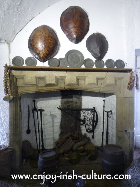 The Earl's kitchen at Bunratty Castle,  County Clare, Ireland.