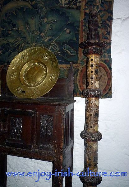 Precious medieval tapestry and furniture from the Hunt collection featured at Bunratty Castle, County Clare, Ireland.