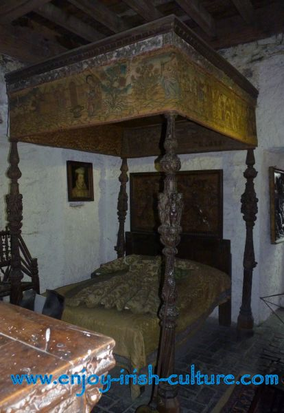 The priest's bedroom at Bunratty Castle, County Clare, Ireland.
