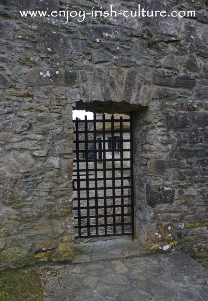 The back gate in the bawn wall at Parke's Castle, County Leitrim, Ireland.