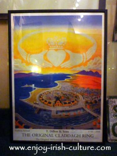 Poster for 250th anniversary of Dillon's Claddagh ring jewellers, Quay Street, Galway, Ireland.