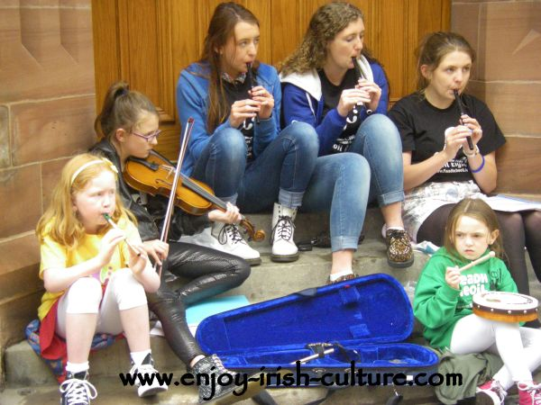 Irish  Music session in the streets of Derry during Derry Feadh 2013