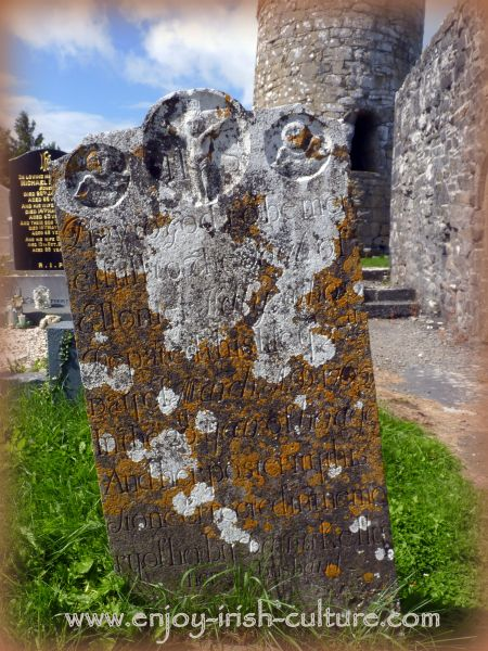 Old gravestone at Aghagower, County Mayo, Ireland.