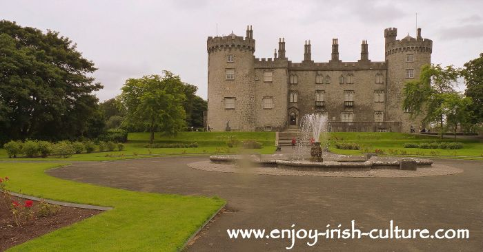 Kilkenny Castle, Ireland and fountain seen from the gardens