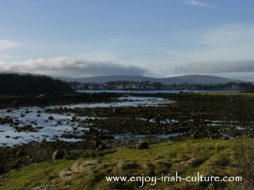 Kinvara village in the distance at the foot of the Burren, Ireland, home to Eugene Lambe, Irish piper and instrument maker.