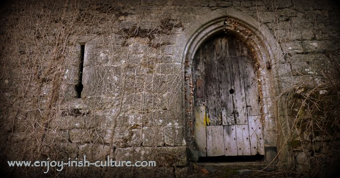 The door of the Desmond Castle or Bourchier Castle, County Limerick, Ireland.