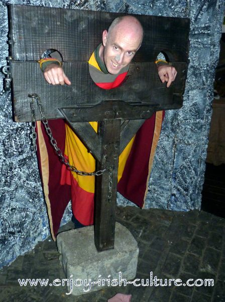 Medieval Irish history comes to life at the heritage centre at Athenry, County Galway, Ireland with a demonstration of medieval torture tools.
