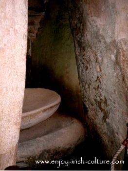 Basin in a side chamber at ancient Ireland's Newgrange megalithic tomb in County Meath, Ireland.