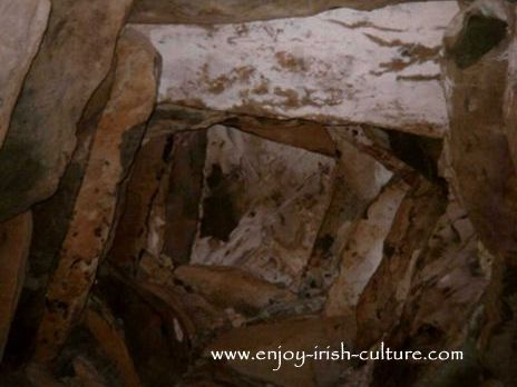 The beautiful corballed ceiling at ancient Ireland's Newgrange megalithic tomb in County Meath, Ireland.