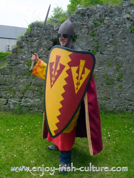 Medieval Ireland- Norman knight costume with shield and sword.