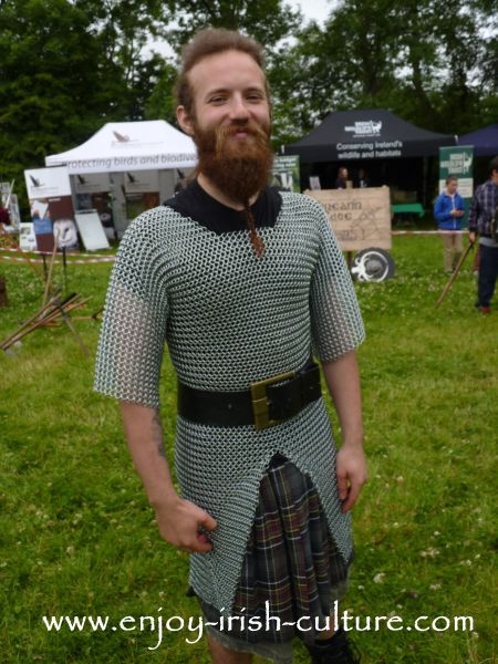 Medieval Ireland- Irish warrior wearing chain mail, reenacted by Eireann Edge.