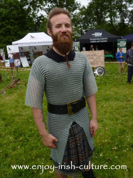 Medieval Ireland- Irish warrior wearing chain mail, reenacted by Eireann Edge.
