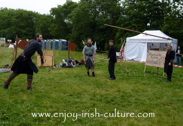 Medieval Ireland- Irish warrior throwing a spear, reenacted by Eireann Edge.