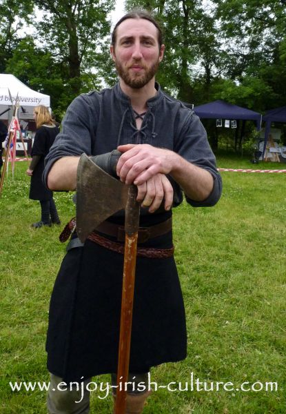 Medieval Ireland- Irish warrior with battleaxe, reenacted by Eireann Edge.