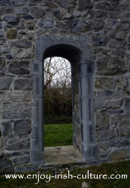 Back gate of the bawn wall at Annaghdown Castle, County Galway, Ireland.