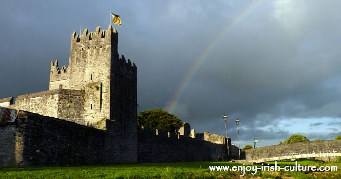 Norman Ireland at Fethard County Tipperary- town wall with tower house