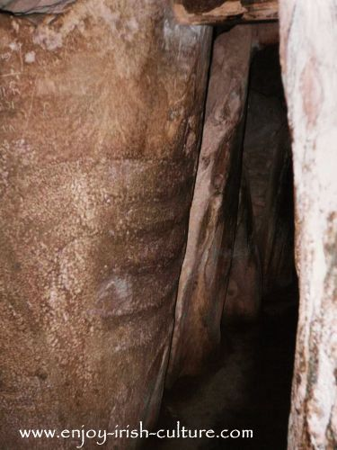 The narrow passage into ancient Ireland's Newgrange tomb in County Meath, Ireland.