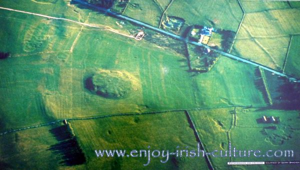 Ancient Ireland's Royal site at Rathcroghan, County Roscommon, Ireland, seen from the air.