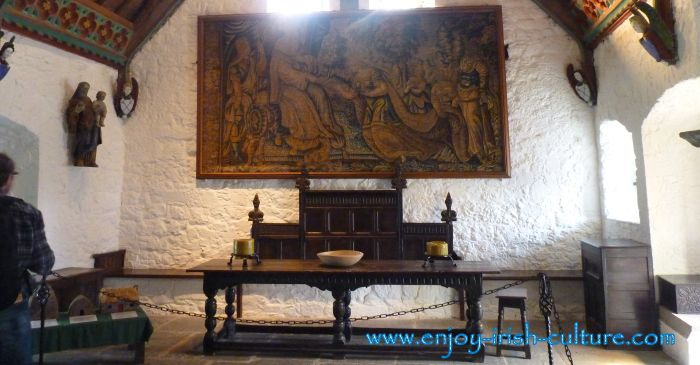 The Cashel Rock- Hall of the Vicar's Choral with medieval tapestries and furniture.