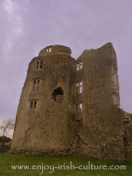 A close up of one of the defensive castle towers at Roscommon, Ireland.