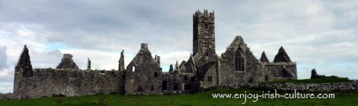 View of Ross Errilly Friary, County Galway, Ireland.