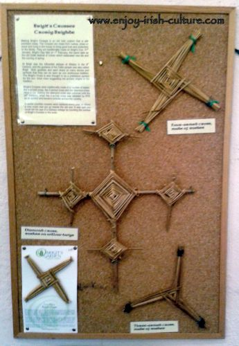 Different Brigid's crosses on display at Brigid's Garden, County Galway.