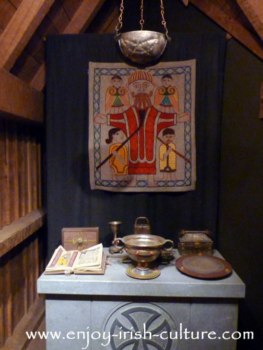 Early Christian Irish Church, as those built by Saint Patrick exhibited at the museum at Clonmacnoise monastery, County Offaly, Ireland.