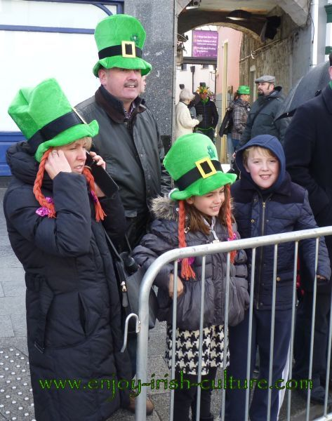 St Paddy's Day Parade Galway 2013, family wearing green hats