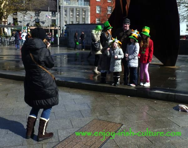 St Paddy's Day Parade Galway 2013, family taking a group picture