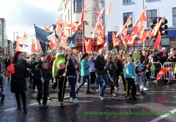 St Paddy's Day Parade Galway 2013, red flags